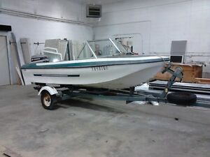Classic 14 ft. Glascon fiberglass boat, motor and trailer