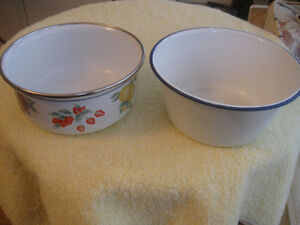 TWO VINTAGE ENAMELWARE SAUCE PANS...PERFECT for the COTTAGE