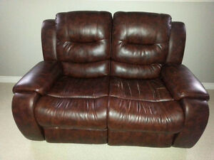 Faux Leather Reclining Loveseat & Reclining Rocking Chair!