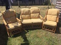 Cain sofa and armchairs