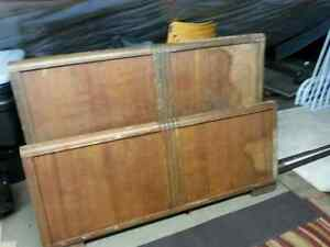 Antique double bed head and footboard
