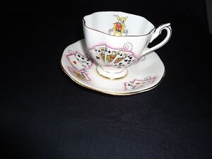 antique england queen anne lady luck fine bone china cup saucer