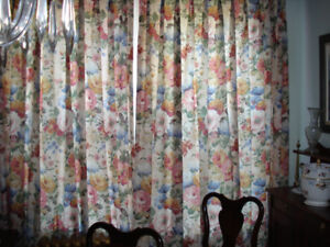 Custom Made Chintz Lined Drapes/Curtains