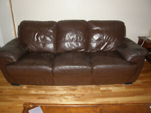 Dark Brown Leather Couch, Chairs and Ottomans