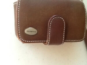 Olympus leather camera case and battery charger