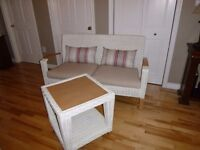 Wicker Sofa with Cushions and Table