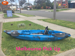 2.95M Single Seater Sit-on Fishing Kayak Conger with Paddle and Seat Blue Black