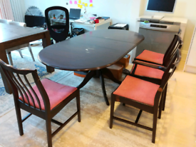 Rosewood Dining Table and Three Chairs