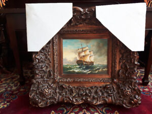 ***Oil On Board Antique in Design with Real Ornate Wood Frame***