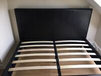 Black leather head board double bed
