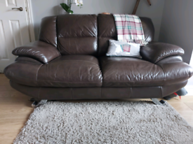 2 x two seater brown leather sofas