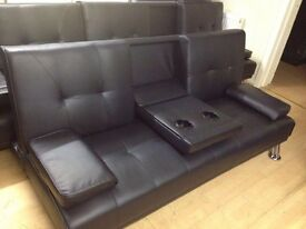 Black sofa bed + cup holders (new)