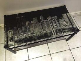 NEW Designer Coffee table gloss black & glass shelf underneath with twin towers New York scene