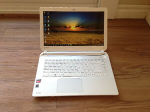 "Toshiba Satellie 14"" White Laptop AMD A4, 8GB RAM, 120GB SSD"