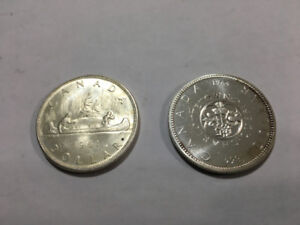 1961 and 1964 Canada Silver Dollar Canadian Coins