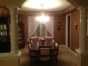 Walnut Dinning Room Table, Chairs & Buffet