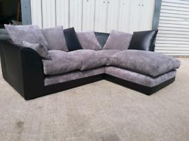 Black & grey fabric Corner sofa couch suite 🚚🚚
