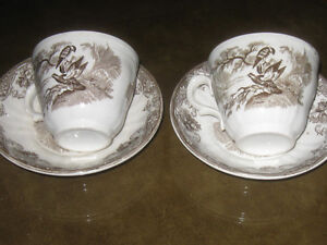 Pr. FINE OLD VINTAGE PEARL STONEWARE IRONSTONE CUPS & SAUCER