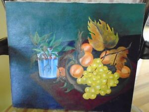 belle toile/ tableau signé Dufort  Plateau de fruits