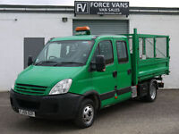 IVECO DAILY 35C12 LWB CREW CAB 3 WAY CAGE TIPPER DROPSIDE CREW TRUCK VAN PICKUP