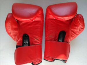 Boxing gloves red leather