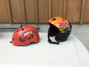 2 lightning mcqueen small child bike helmets $10each