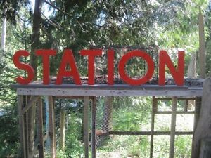 """Old Advertising """"STATION"""" Sign with Freestanding Wood Letters"""