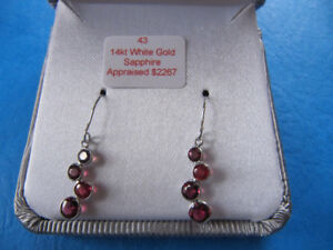Brand new pair of earrings with ruby/sapphire stones, 14K gold