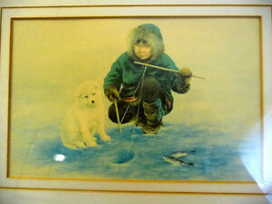 """Inuit Painting by Dorothy Francis """"Little Fisherman"""" Lithograph Stratford Kitchener Area image 2"""