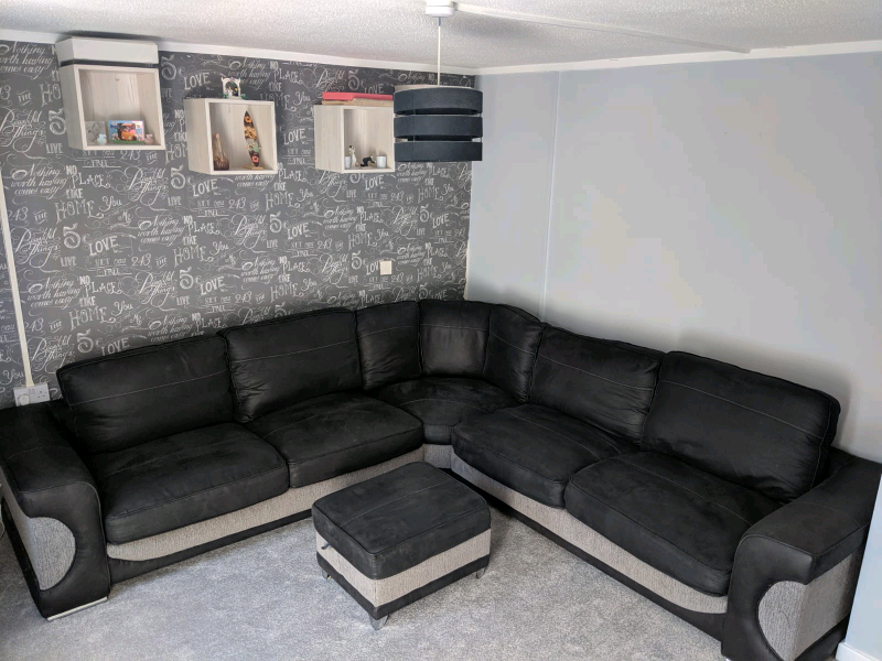 Fabulous Sofology Halo Corner Sofa And Storage Foot Stool Black And Grey With In Reading Berkshire Gumtree Lamtechconsult Wood Chair Design Ideas Lamtechconsultcom