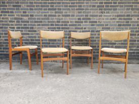 Set of four teak Erik Buch Danish dining chairs