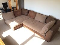 Corner sofa and stool. Great condition and really comfortable.