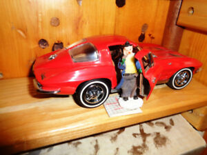 Franklin Mint Red 63 chevy Corvette Split Window Coupe Figurine