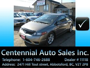2008 Honda Civic, Coupe, Auto Local BC, only  161~km! New tires!