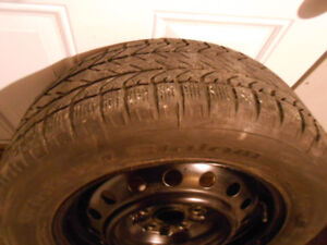 215/60R16 Winter Tires, on steel rims, +hubcaps off Toyota Camry