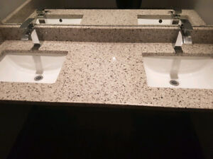 Custom granite countertop with sinks