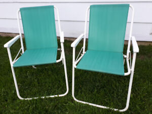 2 chaises soleil vert-turquoise
