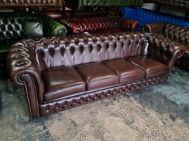 Antique Brown Chesterfield 4 Seater Sofa