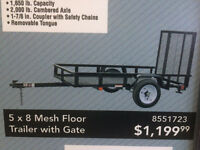 Utility Trailer 5 X 8 wire mash with fold down gate