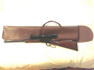 Genuine Leather Rifle Case - Lever Action w/High Scope Mount