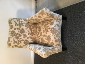 Arm Chair - olive and cream