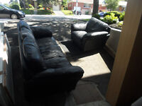 BLACK SIMILI LEATHER COUCH & ARM CHAIR
