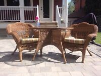 Wicker patio set (table and 2 chairs)