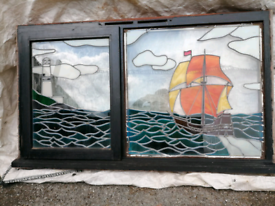 PAIR OF STAINED GLASS LEADED WINDOWS *SEA SCAPE *
