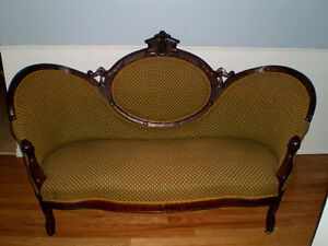 Antique Victorian Settee with matching Parlor Chair 1870's era