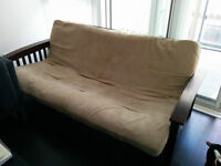 Used Dark Wooden Arm Futon For Sale