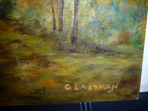 """Vintage Cabin on a Hill by G. Eastman """"Homestead"""" Oil Painting Stratford Kitchener Area image 7"""