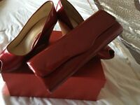 Brand new Clarks Paten Leather Wedge Heels with matching Clutch Bag