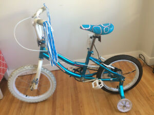"Kids Bike - Blue - 16"" Wheels with Training Wheels & Extra Tire"