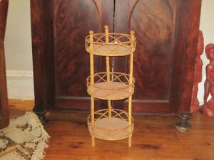 Vintage Three Tier Rattan Plant Stand Shelf